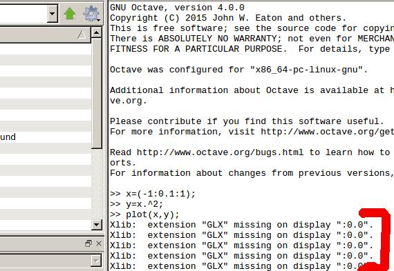 xlib extension glx missing on display